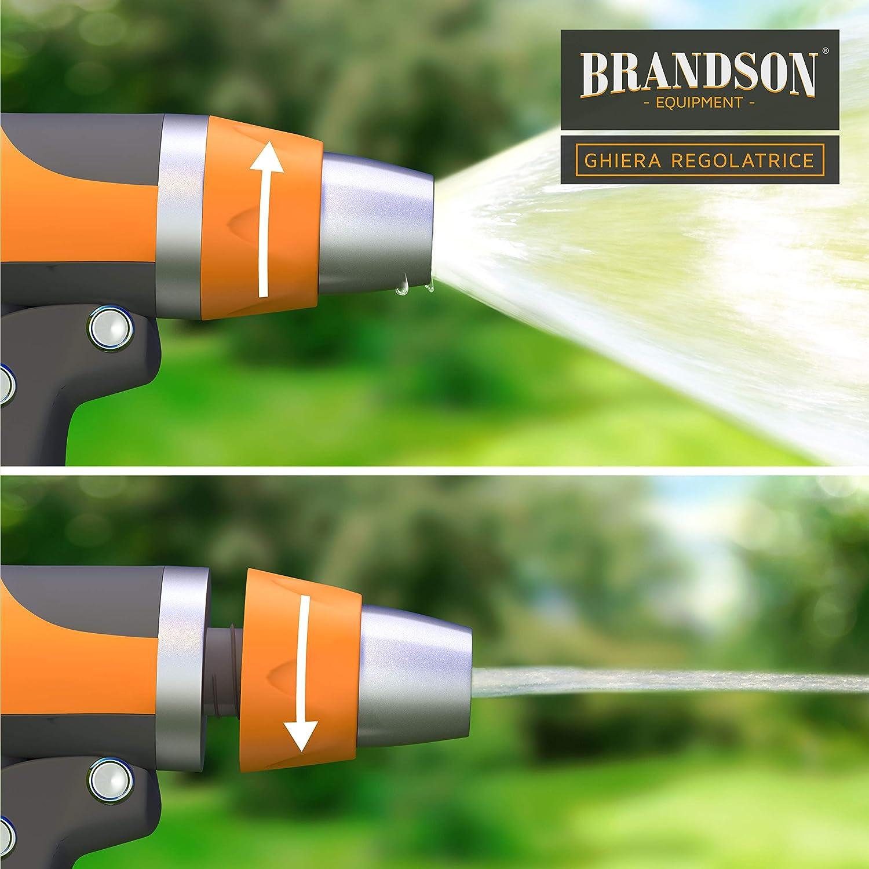 off Adattatore Tubo a baionetta Incluso Pistola da Giardino Professionale 18,5 cm Brandson Getto Regolabile Grilletto Regola presione
