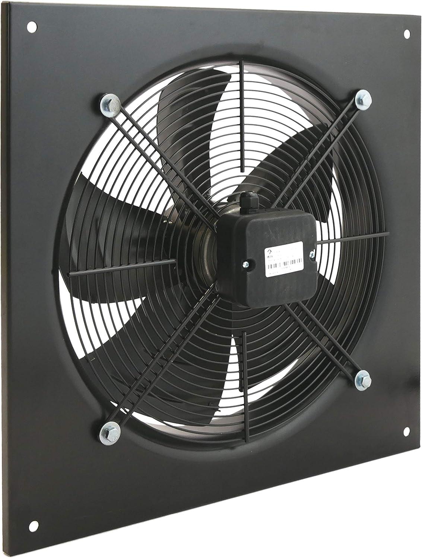 PrimeMatik KH003-VCES Extractor de Aire de Pared de 400 mm para ventilación Industrial 1360 RPM Cuadrado 540x540x80 mm (KH003)