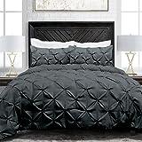 Sleep Restoration Pinch Pleat 3-Piece Luxury Goose Down Alternative Comforter Set - Premium Hypoallergenic All Season Pintuck Style Duvet Set -King/Cal King - Gray
