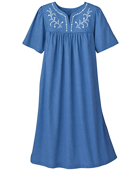 National Embroidered Chambray Dress