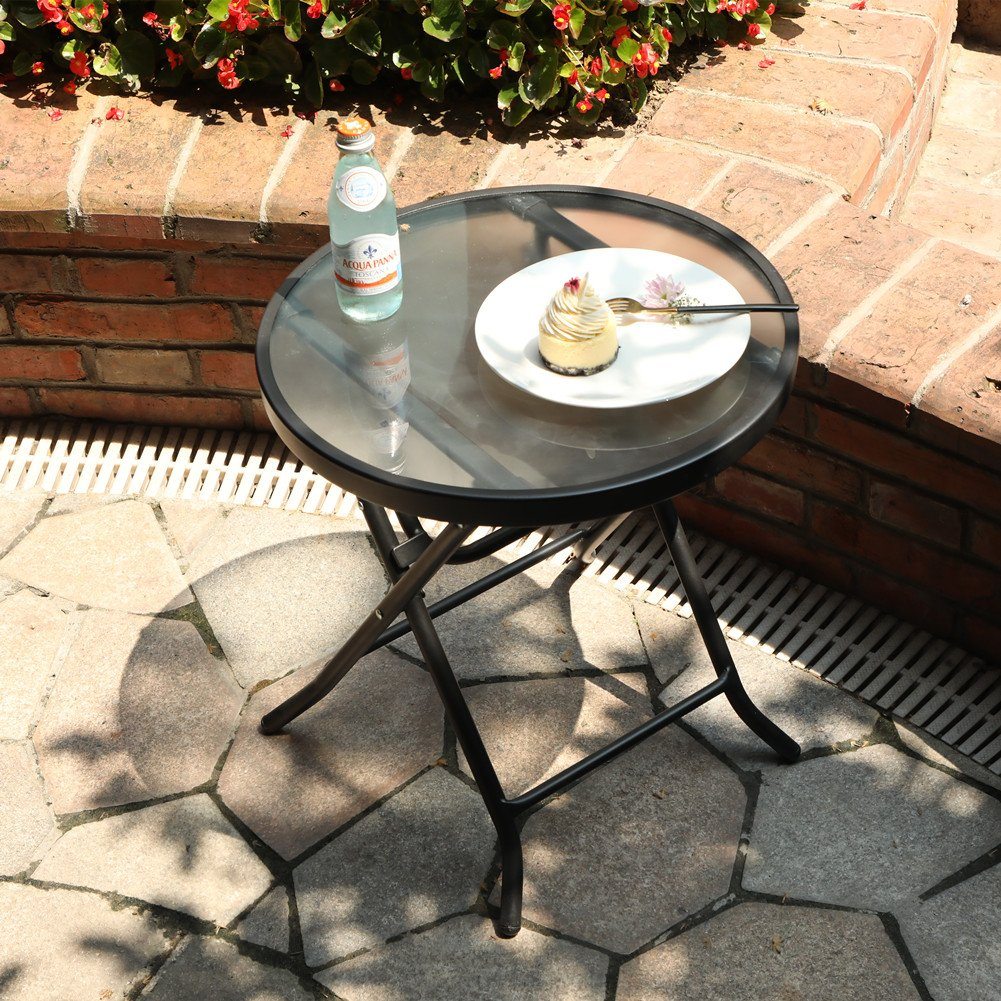 Captiva Designs 18'' Patio Small Side Table-Little Folding Glass Table, Clear by Captiva Designs (Image #4)