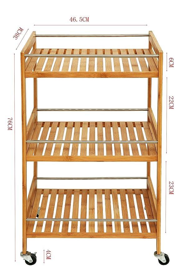 eSituro Carrito de Cocina Madera Estanter/ía para Ba/ño Ducha Librer/ía Bamb/ú 3 Niveles con Ruedas Carro de Almacenamiento Organizador Multifunciona 33 x 30 x 70 cm Blanco SBSS0036
