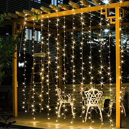 jar-owl Solar Curtain String Lights 300 LED Window String Lights with 8 Modes Remote Controller Decorative Lighting for Christmas Home Garden Patio Lawn Party Holiday Outdoor Decor Warm White