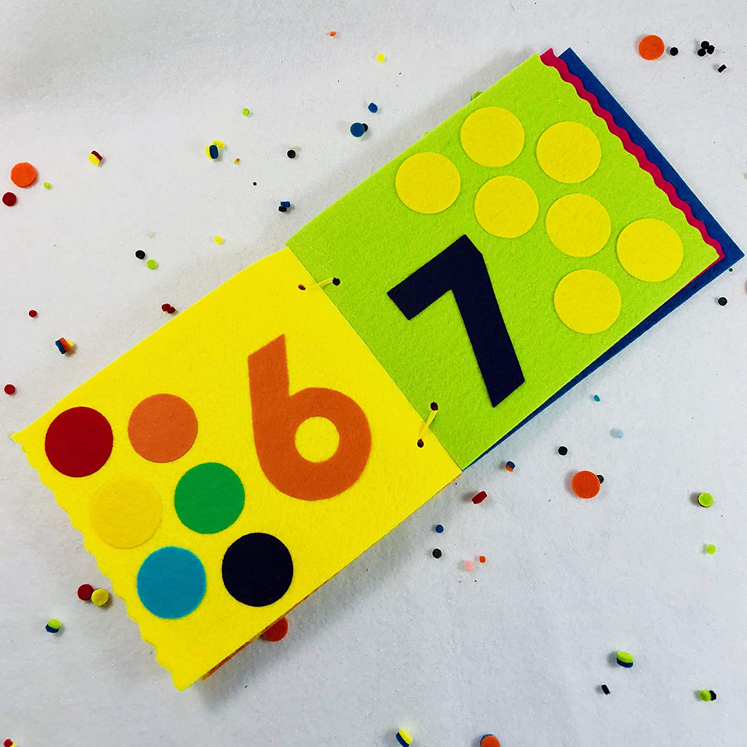 TInyFeats Numbers Book Quiet Counting Activity Book for Babies /& Toddlers Handmade Soft Felt Board Book
