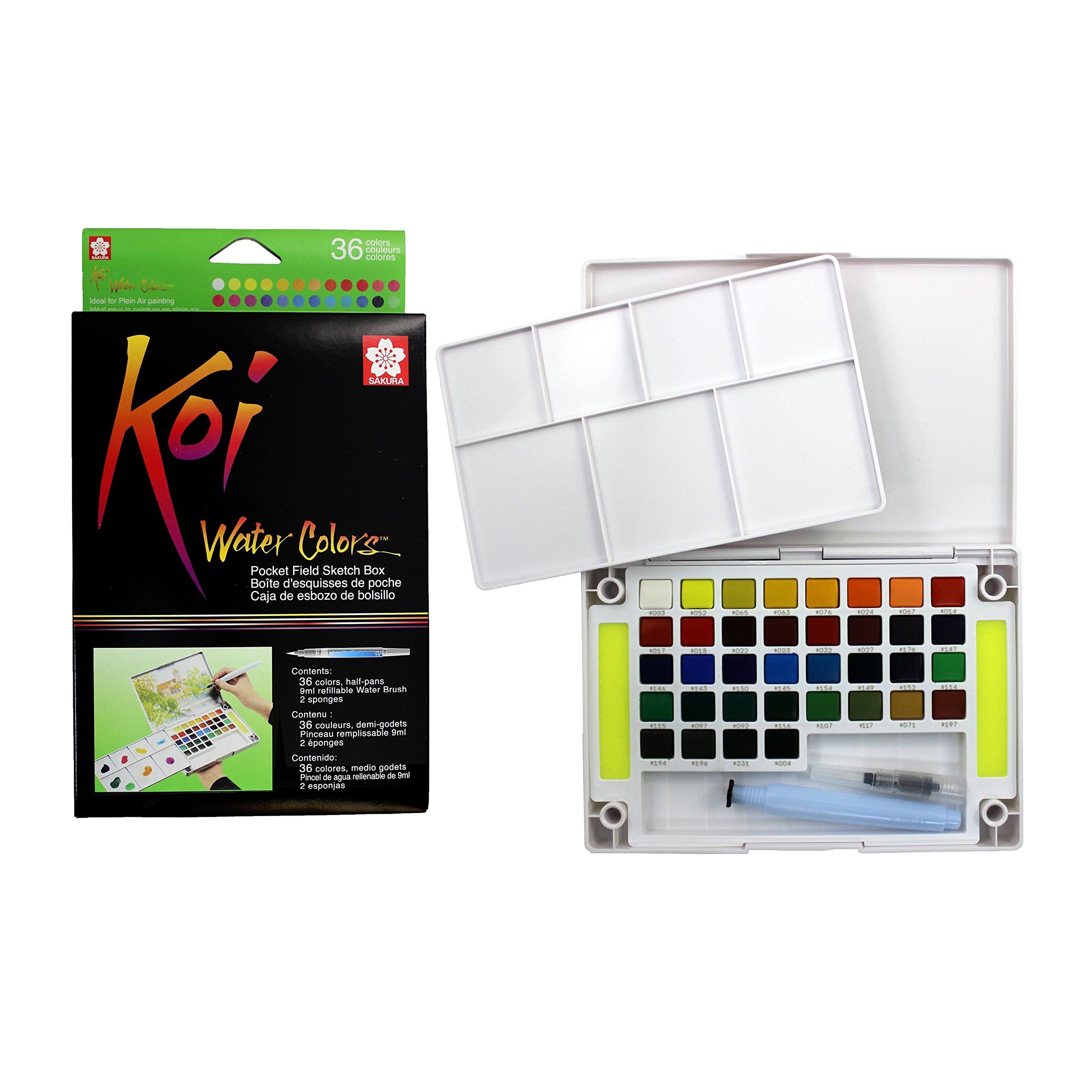 Sakura XNCW-36N Assorted Brush Koi Watercolor Field 36 Color Sketch Set