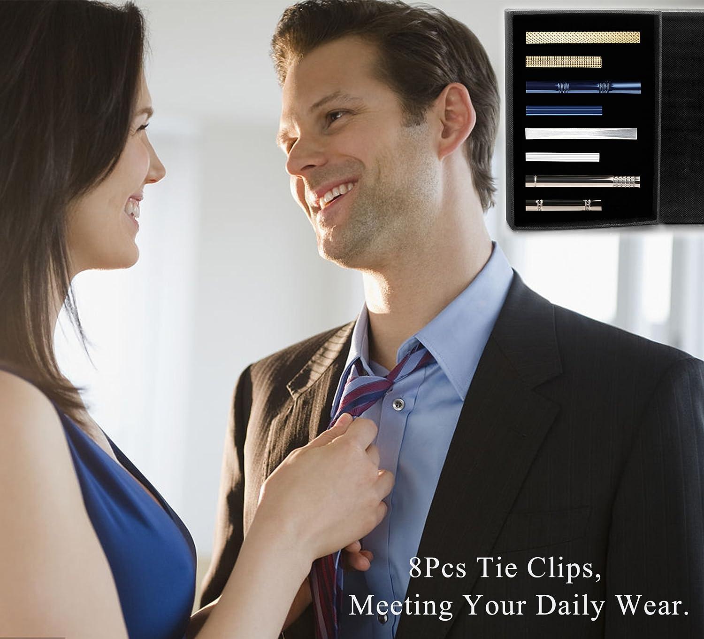 LOYALLOOK 8PCS Tie Bar Clip Set Tie Tack Pins Clips for Men Necktie Bar Pinch Clip Set Skinny Regular Ties Necktie Wedding Business Clips DGT0001-S