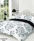 Stephanie Reversible Black and White Butterfly Super King Bed Size Duvet Cover Set