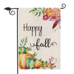 AVOIN Happy Fall Garden Flag Vertical Double Sided Maple Leaf Leaves Pumpkins, Seasonal Autumn Vintage Thanksgiving Rustic Burlap Yard Outdoor Decoration 12.5 x 18 Inch