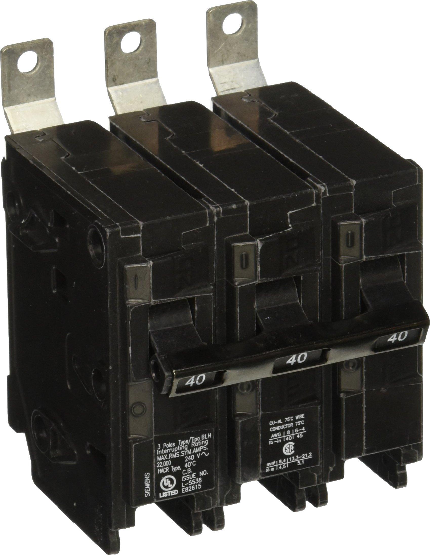 Siemens B340H 40-Amp Three Pole 240-Volt 22KAIC Bolt in Breaker