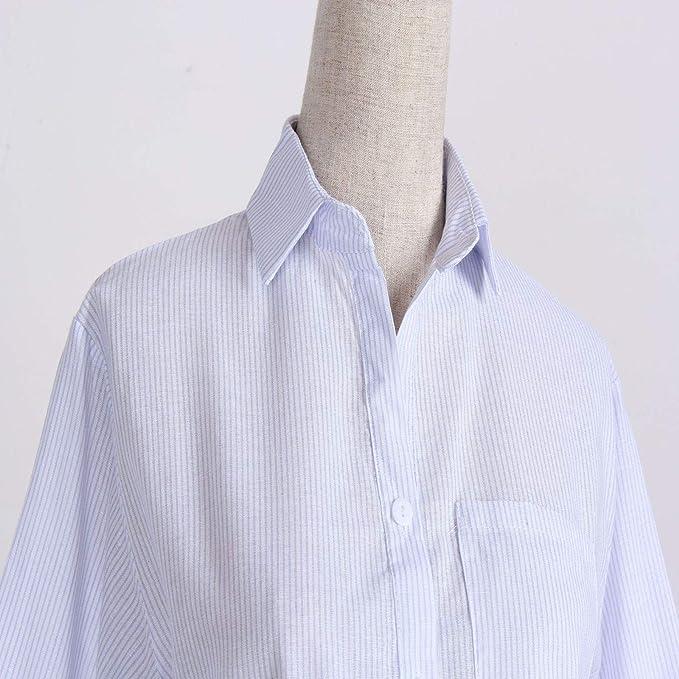 Camisa a Rayas de Cuello semiabierto de Color sólido con ...