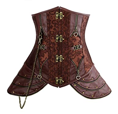 46eb1f0db1 Charmian Women s Steampunk Brocade Steel Boned Underbust Corset with Hip  Panels Brown Small
