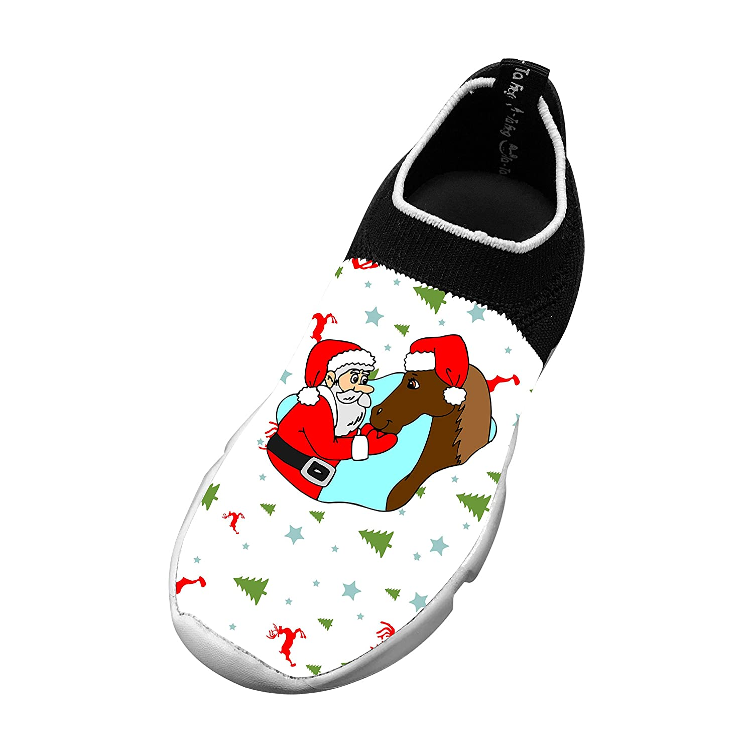 TATA FROG Christmas Fashion Fly Knittted Sports Sneakers Flexible Athletic Casual Shoes for Kid