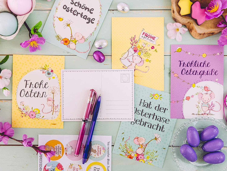 Gru/ßkarten Set 3 Ostern 2020 gr/ün liebevoll gestaltetes Postkarten Set Osterhasen auf gelb Papierdrachen 12 Osterkarten zum Sammeln und Verschicken blau