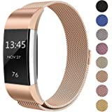 for Fitbit Charge 2 Strap Band, FashionAids Milanese Loop Stainless Steel Metal Bracelet Strap with Unique Magnet Lock for Fitbit Charge 2 Fitness Tracker Rose Gold-L