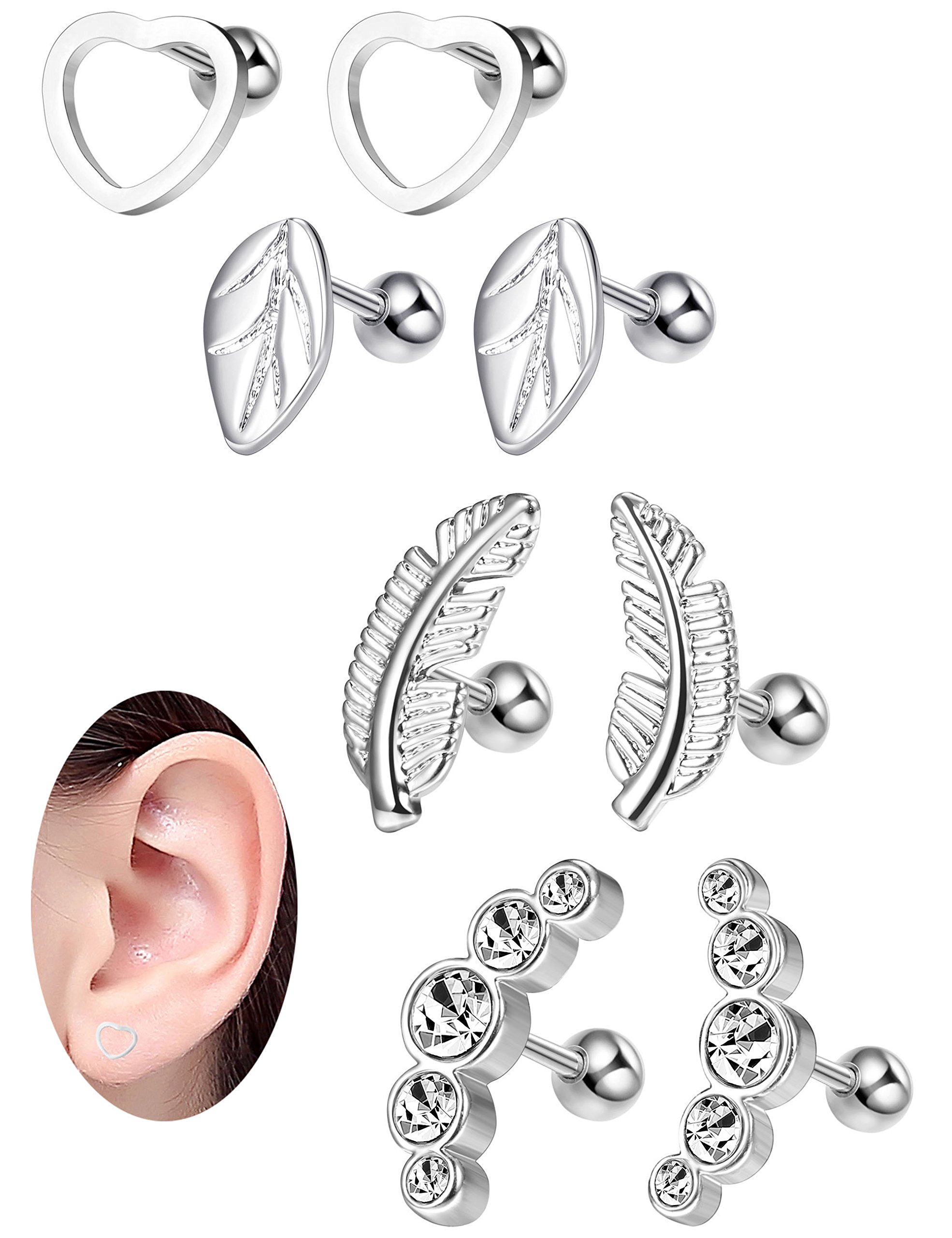 Milacolato 16G Cartilage Tragus Earrings Set for Women Girls Helix Conch Daith Piercing Jewelry 4 Pairs Silver