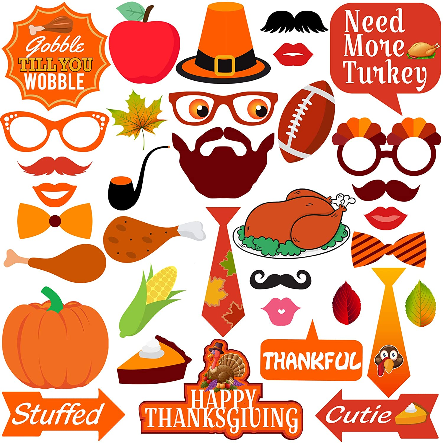 KatchOn Thanksgiving Photo Booth Props 35 DIY Kits Thanksgiving Day Decorations,Happy Thanksgiving Party Favor, Element of Pumpkin Turkey Bread Corn Fruits Maple Leaves for Autumn Party Fall Party