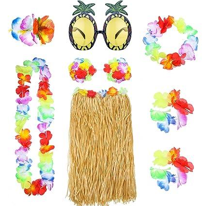 04557f71927a 8 Pieces Hawaiian Hula Grass Skirt Set with Necklace Bracelets Headband  Flower Bikini Top Hair Clip