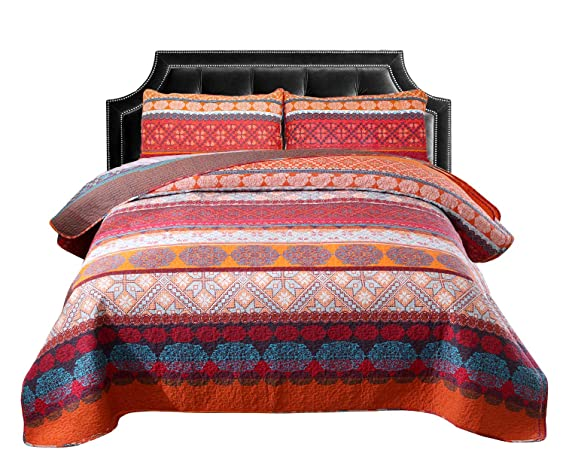 Exclusivo Mezcla 100% Cotton 3 Piece Exotic Boho King Size Quilt Set As Bedspread/Coverlet/Bed Cover  Lightweight, Reversible& Decorative by Exclusivo Mezcla