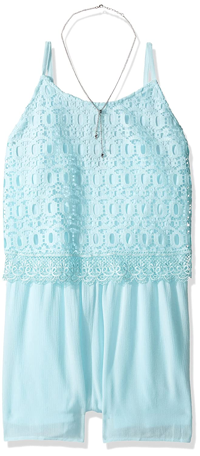Amy Byer Big Girls' Lace Popover Romper With Necklace
