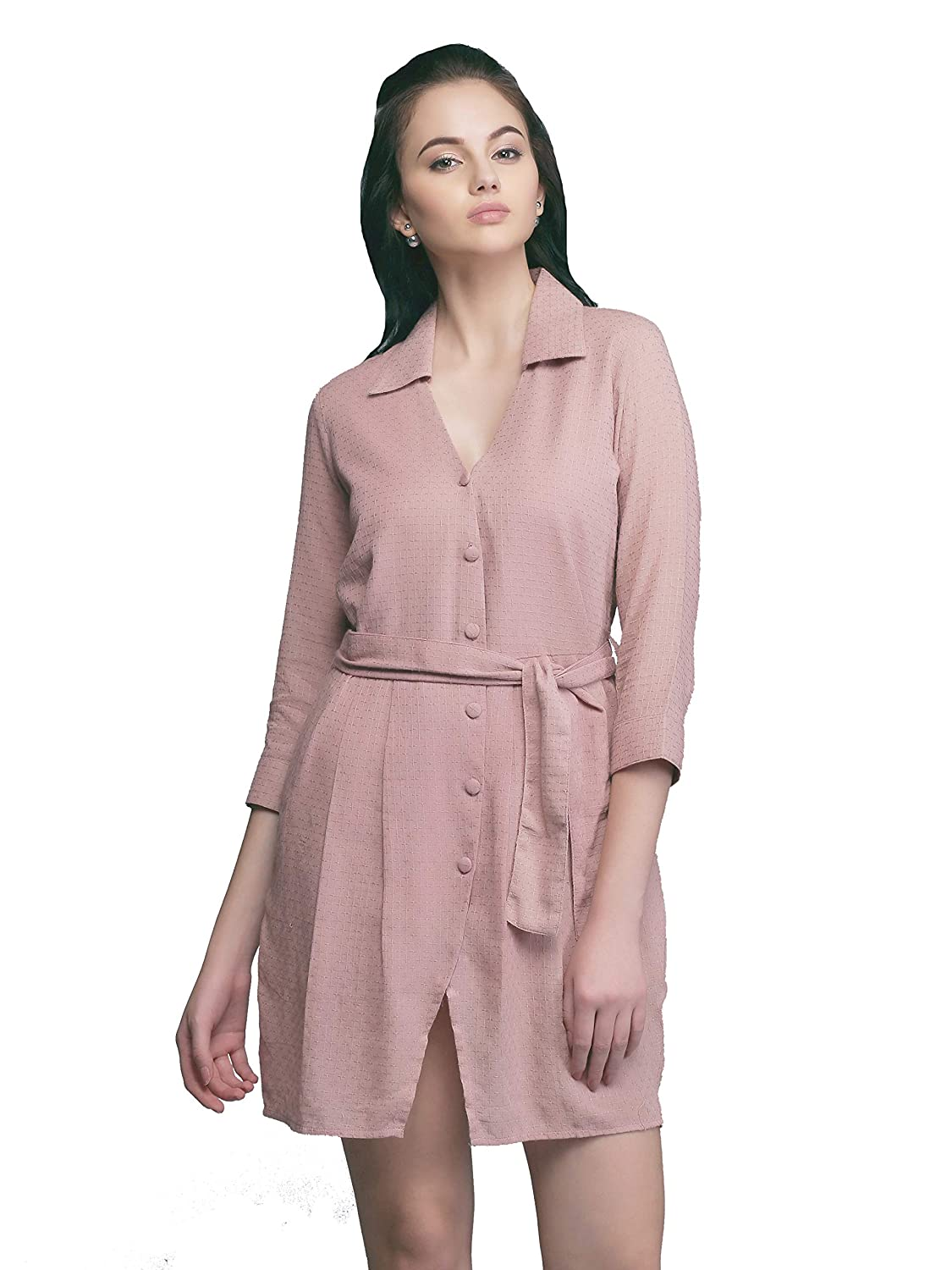 b9b1f4fc Eavan Women's Dusty Pink Shirt Dress - EA3309: Amazon.in: Clothing &  Accessories