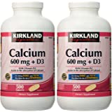 Kirkland Signature Calcium 600 mg + D3 For Strong Bones and Teeth 500 Tablets Each (Pack of 2)