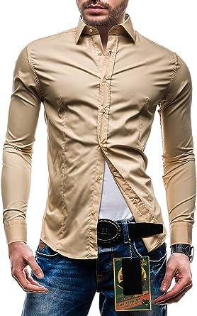 BOLF Hombres Camisa con mangas largas Camisa Abotonada Slim ...