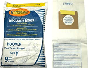 EnviroCare 859-9 Type Y Vacuum Bag Replacement for Hoover WindTunnel Uprights and Hoover Vacuums, 9 Pack