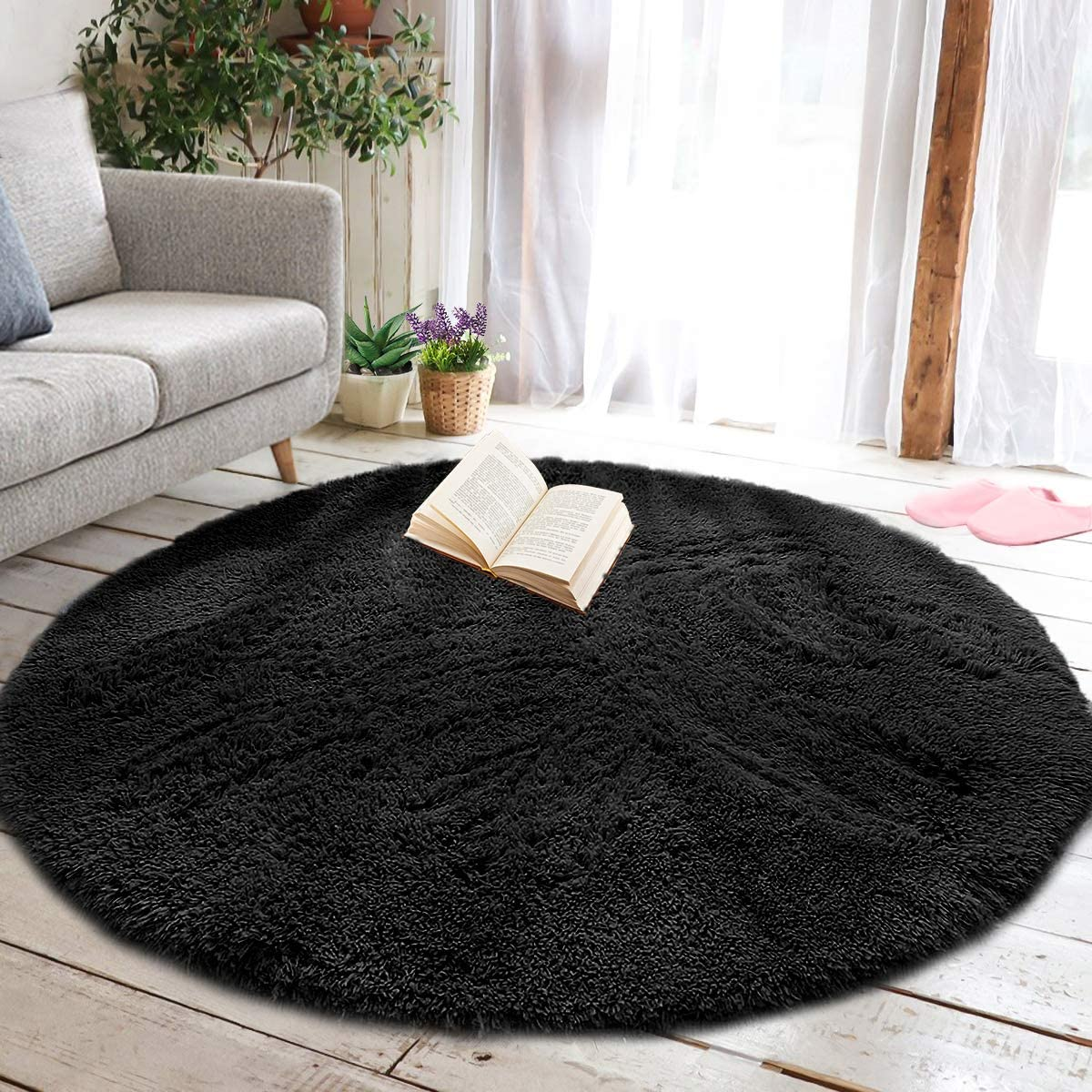 junovo Round Rug for Bedroom, Soft Fluffy Circle Area Rugs for Kids Girls Teen's Room, Shaggy Plush Cute Carpet Large Circular Nursery Rugs for Kids Boys Baby Bedroom Living Room Decor, 6ft Black