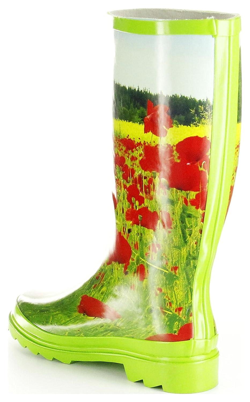 ConWay Gummistiefel Grün Regenstiefel Damen Stiefel Schuhe Mohnblume, Größe:41, Farbe:Grün