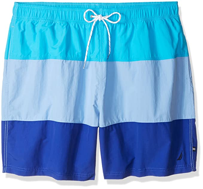 52b71313b6b4b1 Nautica Men's Big and Tall Quick Dry Color Block Swim Trunk: Amazon ...