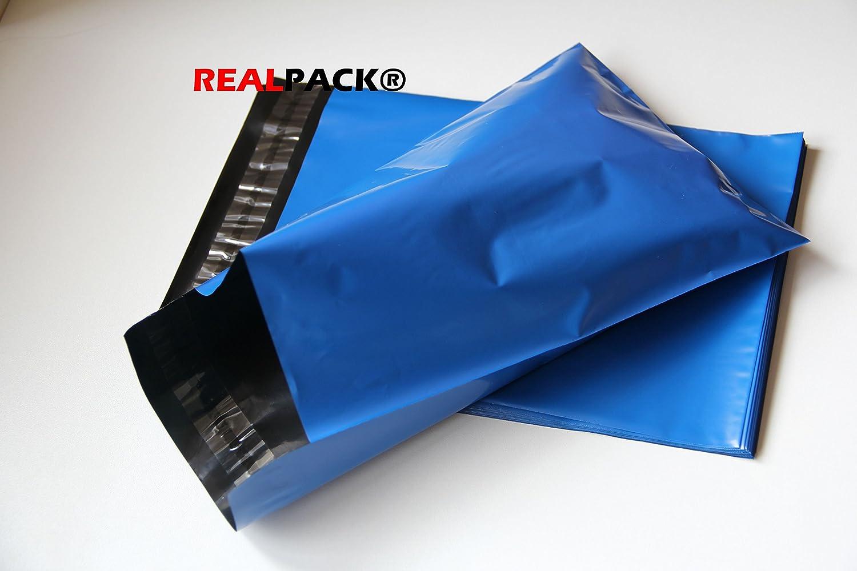 REALPACK® 100 bolsas de plástico azul para envíos postales, tamaño de 25 x 35 cm, 245 x 345 mm + 40 mm de cierre, DVD