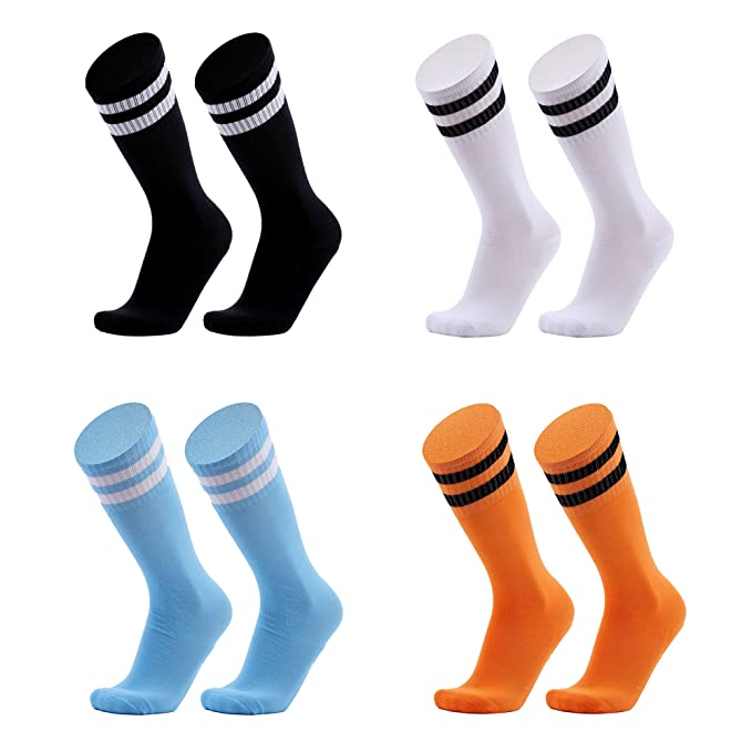 51601c64b529 4 Pack Unisex Children Knee High Stripes Soccer Football Socks Kids  Athletic Socks