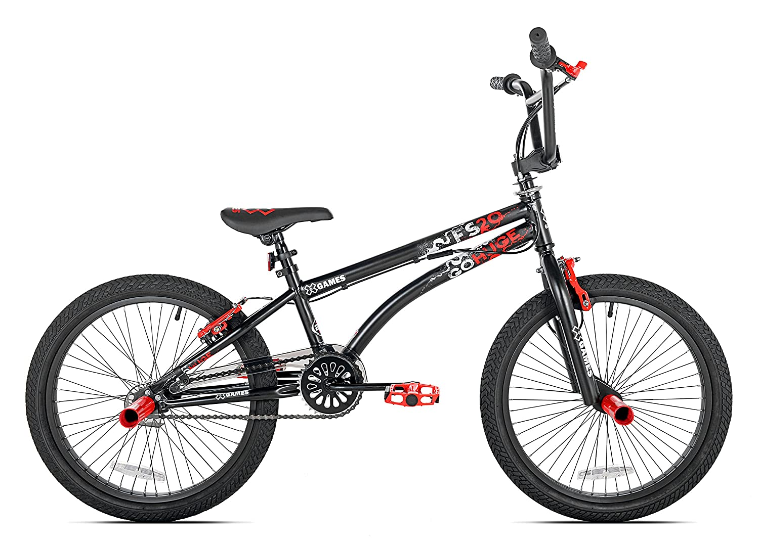 amazoncom x games fs 20 bmxfreestyle bicycle 20 inch black red childrens bicycles sports outdoors