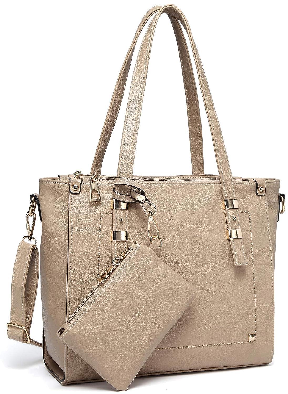 af363645c6d Amazon.com: Tote Bag for Women,VASCHY Faux Leather Top Handle Triple  Compartment Satchel Work Handbag Purse for Ladies with Little Pouch  Apricot: Shoes