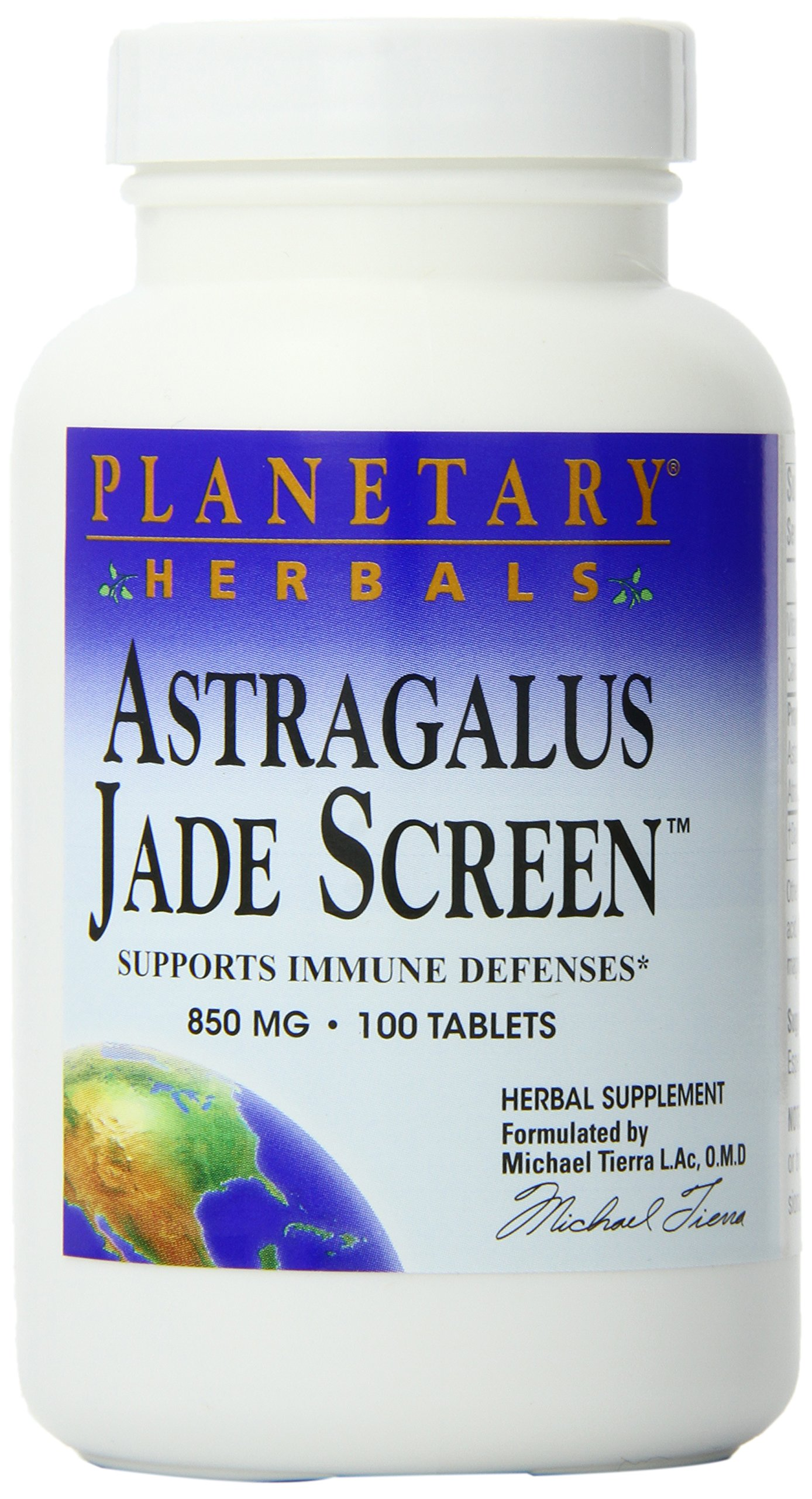 Planetary Herbals Astragalus Jade Screen 850 mg, Supports Immune Defenses, 100 Tablets (Pack of 2)