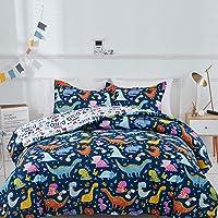 Joyreap 3pcs Comforter Set for Kids Boys, Cute Dinosaur Printed on Navy, Lightweight Soft Microfiber Comforter for All Season (Twin, 68x86 inches)