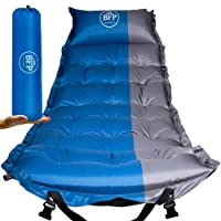 Self Inflating Sleeping Pad By BFP Outdoors - Blue and Grey Camping Mattress With Pillow and Carrying Bag - Ideal For Camping, Hiking, Traveling - Super Comfortable, Soft and Practical