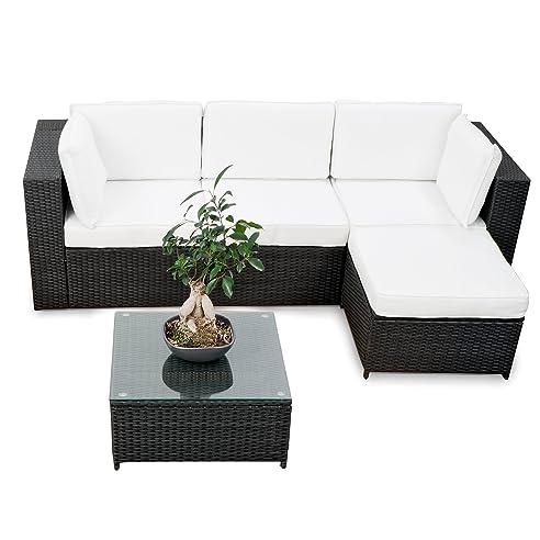 Balkon Polyrattan Lounge Ecke   Schwarz   Sitzgruppe Garnitur Gartenmöbel  Lounge Möbel Set