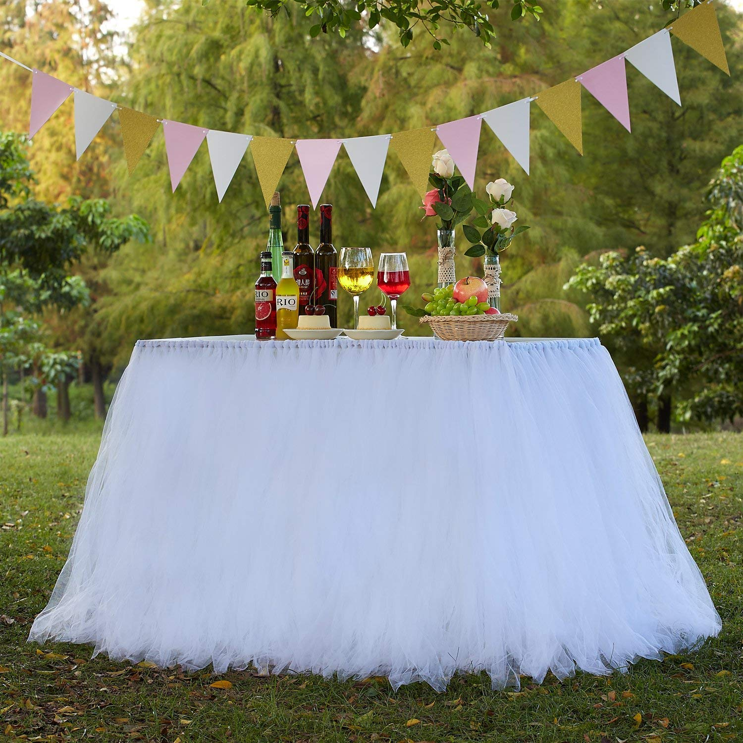 MACTING Handmade Tutu Tulle Table Skirt Cover Improved for Girl Princess Birthday Party Baby Showers Weddings Holiday Parties Home Decoration, 47''-60'' Long 32'' High (White)