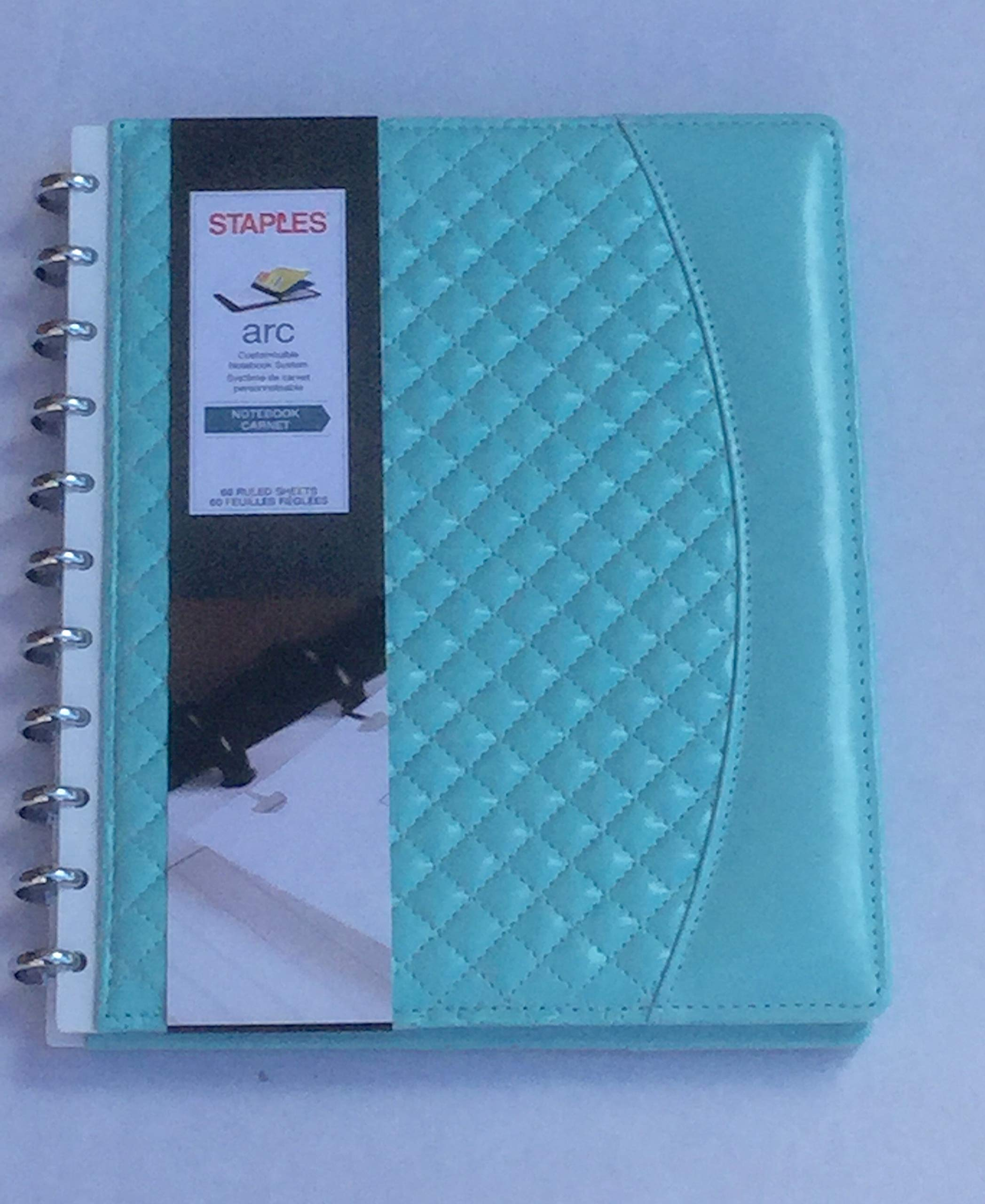 Arc Customizable Notebook System Quilted Leather 8.5 x 5.5 inch Aqua Marine