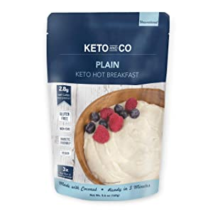 Keto Hot Breakfast by Keto and Co   Plain   Just 2.8 Net Carbs Per Serving   Gluten free, Low Carb, No Added Sugar, Unsweetened   (8 Servings - Plain)