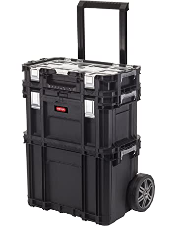 Curver 233506 Carro Vertical Connect Rolling System, Negro 54.5x35.3x68 cm