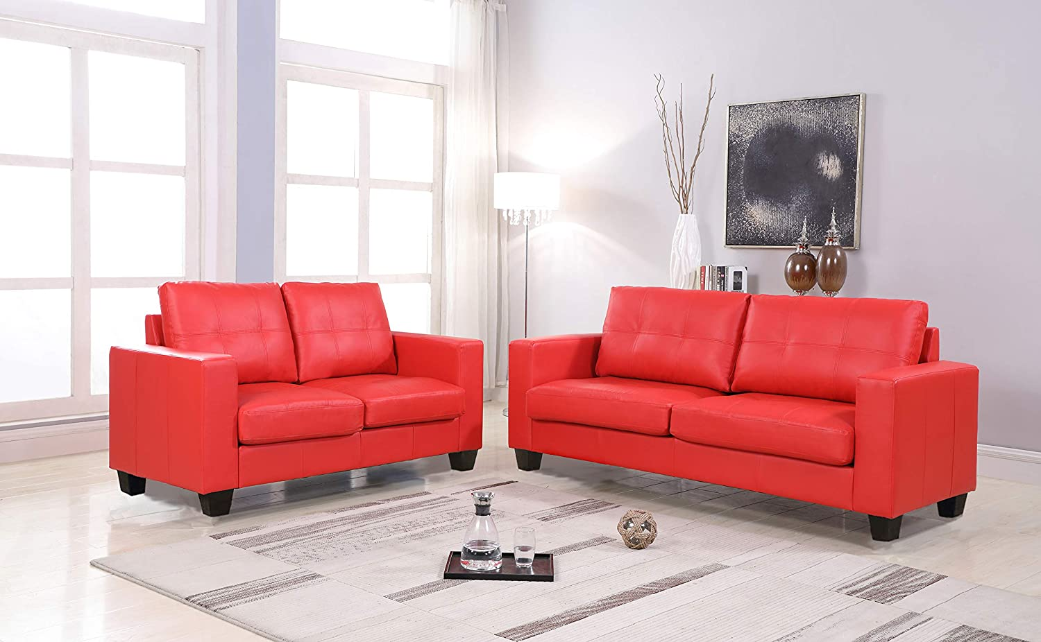 Amazon.com: GTU Furniture 2Pc Red Contemporary Leather Loveseat Set ...