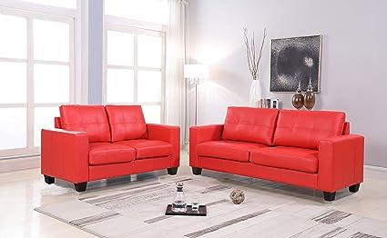 Amazon.com: GTU Furniture 2Pc Red Contemporary Leather Loveseat Set ...