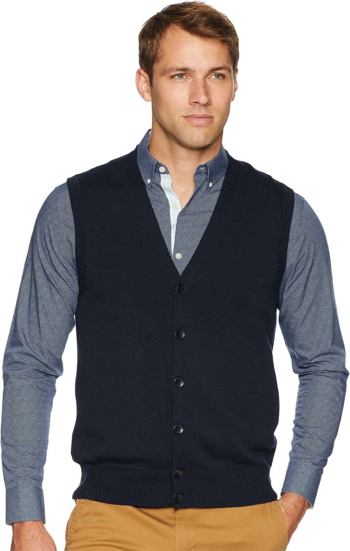 Perry Ellis Men's Jersey Knit Vest, Dark Sapphire/DFG, Medium by Perry Ellis