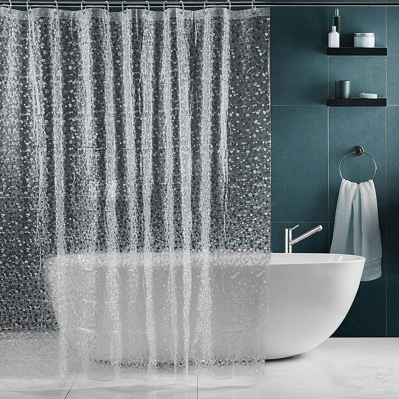 Waterproof Transparent Clear White Shower Curtain 100/% PEVA Bath Shower Bathroom