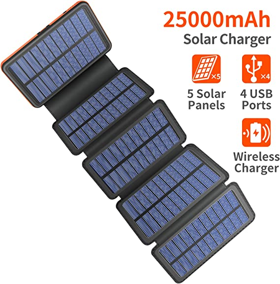 Amazon.com: Cargador solar 25000mAh, 5 Panel Solar QI ...