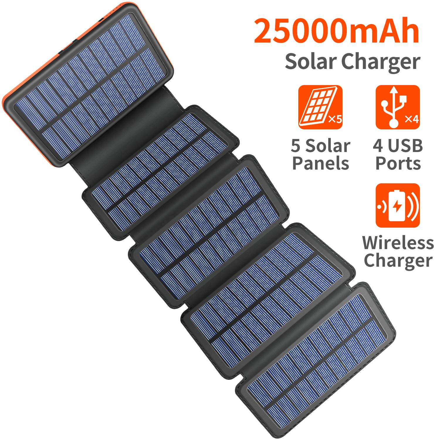 Solar Charger 25000mAh, 5 Solar Panel QI Wireless Outdoor Portable Power Bank - Waterproof Fast Charge External Battery Pack with Dual 2.1A Output USB for Cell Phones Tablet GoPro Camera by AddAcc