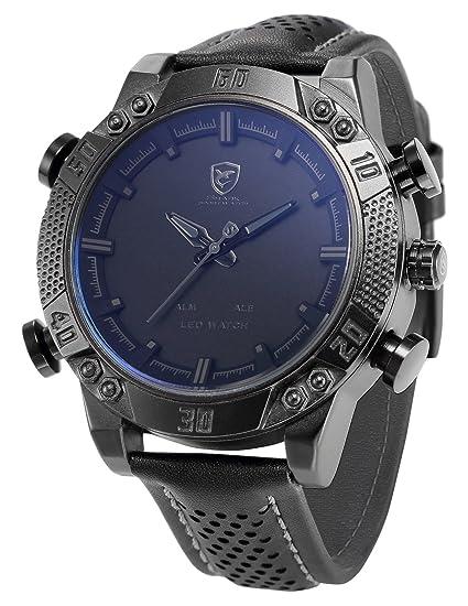 Shark SH262 - Reloj Hombre de Cuarzo, Correa de Cuero Negro, Esfera Negra, Alarma: Amazon.es: Relojes