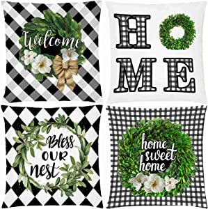 AOKDEER Magnolia Wreath Throw Pillow Covers Black and White Buffalo Check Plaid Welcome Home Double-Sided Square Farmhouse Pillow Case for Sofa Room Decor 18